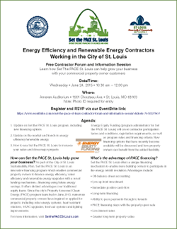 Information flyer for contractor forum on 6/24/15