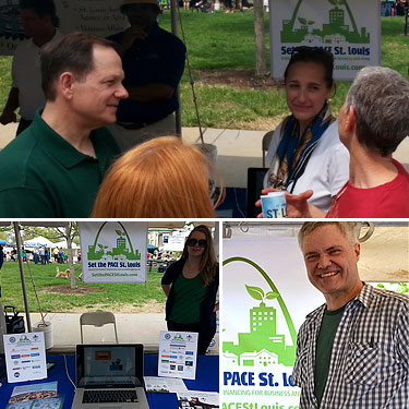 Mayor Slay and others at Set the PACE St. Louis table at Earth Day